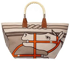 Bolsa de shopping Steeple con estampado Quadrige sobre lienzo H y madera hackberry. Hermés